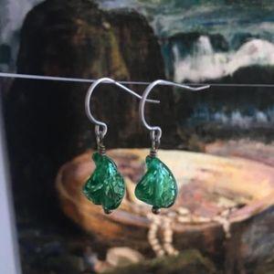 """118: """"Wave"""" Twisted Venetian Glass Earrings"""